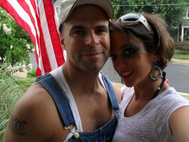This was a redneck theme birthday party, he doesnt actually wear overalls or beat me.